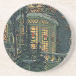 Vintage Christmas, House with Wreaths in Windows Coaster