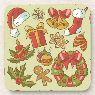 Vintage Christmas Icons Set Coaster