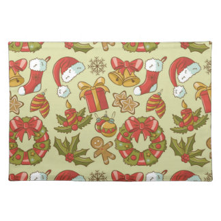 Vintage Christmas Icons Set Placemat