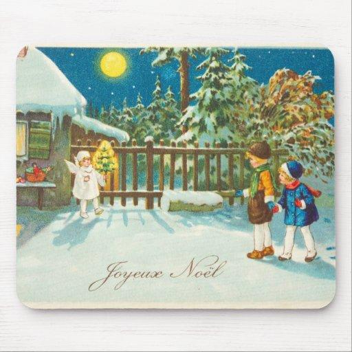 Vintage Christmas Illustration - Kids and Angel Mouse Pads