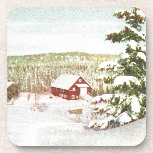 Vintage Christmas in Norway, 1950 Drink Coaster
