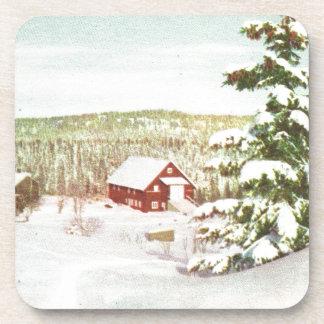 Vintage Christmas in Norway 1950 Drink Coaster