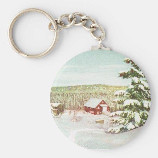 Vintage Christmas in Norway, 1950 Key Chain