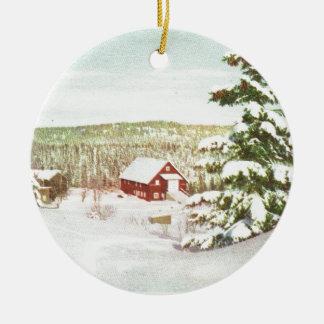 Vintage Christmas in Norway, 1950 Round Ceramic Decoration