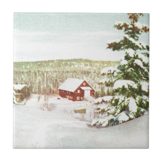 Vintage Christmas in Norway, 1950 Small Square Tile