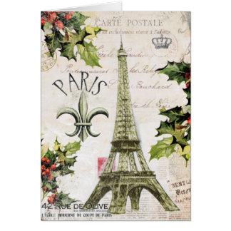 Vintage Christmas in Paris notecard