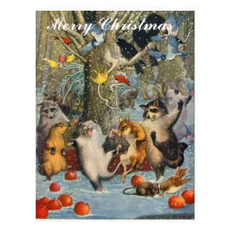 Vintage Christmas in the Woods Post Card