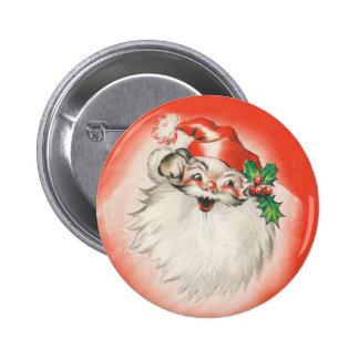 Vintage Christmas, Jolly Retro 50s Santa Claus 6 Cm Round Badge