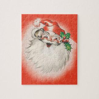 Vintage Christmas, Jolly Retro 50s Santa Claus Jigsaw Puzzle