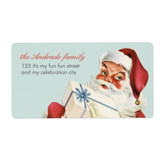 Vintage Christmas Jolly Santa Blue Red Holiday