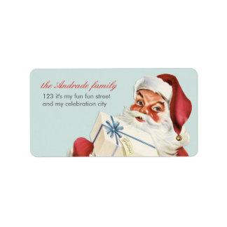 Vintage Christmas Jolly Santa Blue Red Holiday Address Label