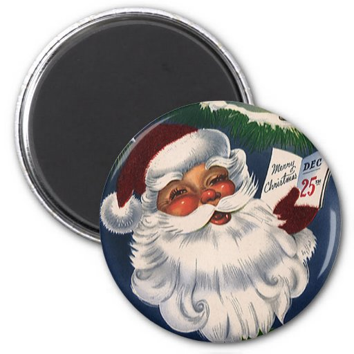 Vintage Christmas, Jolly Santa Claus, 50s Retro Fridge Magnet
