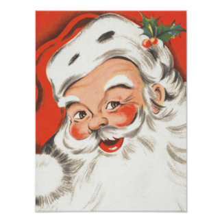 Vintage Christmas, Jolly Santa Claus Posters