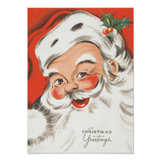Vintage Christmas, Jolly Santa Claus Print