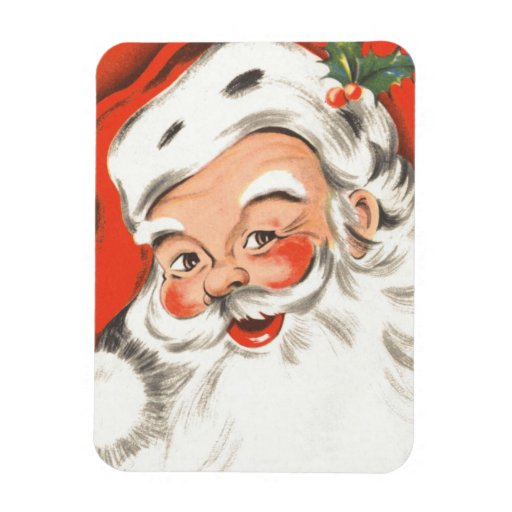 Vintage Christmas, Jolly Santa Claus Rectangle Magnet