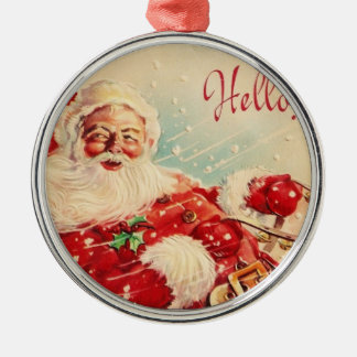 Vintage Christmas, Jolly Santa Claus Silver-Colored Round Decoration