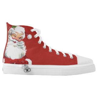 Vintage Christmas, Jolly Santa Claus Winking High Tops