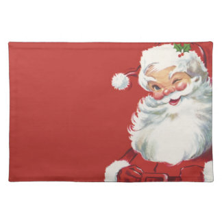 Vintage Christmas, Jolly Santa Claus Winking Placemat