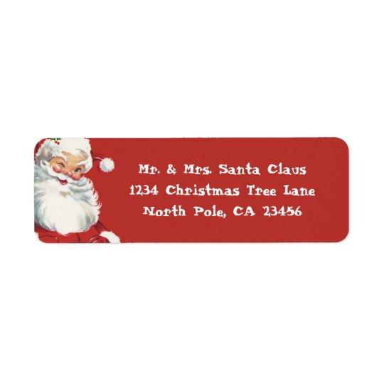 Vintage Christmas, Jolly Santa Claus Winking Return Address Label