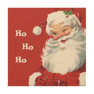 Vintage Christmas, Jolly Santa Claus Winking Wood Wall Art