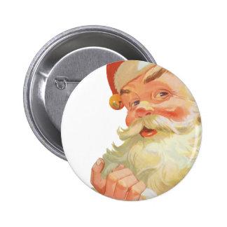 Vintage Christmas, Jolly Santa Claus with a Secret 6 Cm Round Badge