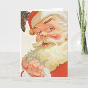 Secret santa cards zazzle uk vintage christmas jolly santa claus with a secret holiday card m4hsunfo