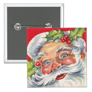 Vintage Christmas, Jolly Santa Claus with His Hat 15 Cm Square Badge