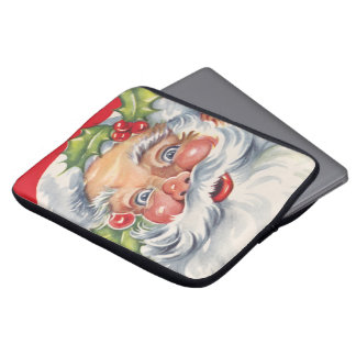 Vintage Christmas, Jolly Santa Claus with His Hat Laptop Sleeve