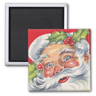 Vintage Christmas, Jolly Santa Claus with His Hat Magnet