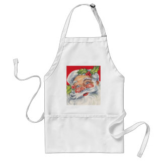 Vintage Christmas, Jolly Santa Claus with Holly Apron