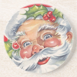Vintage Christmas Jolly Santa Claus with Holly Coaster