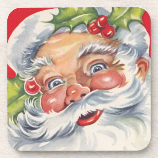 Vintage Christmas, Jolly Santa Claus with Holly Beverage Coasters