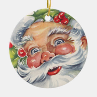 Vintage Christmas, Jolly Santa Claus with Holly Ornament