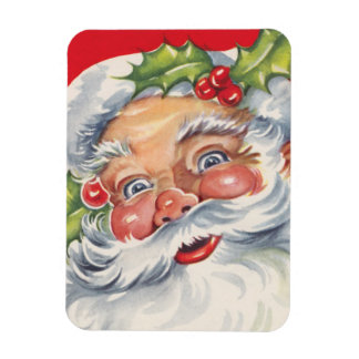 Vintage Christmas, Jolly Santa Claus with Holly Magnet