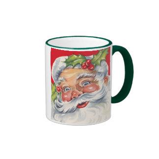 Vintage Christmas, Jolly Santa Claus with Holly Ringer Coffee Mug
