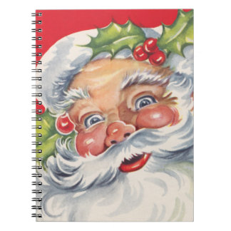 Vintage Christmas Jolly Santa Claus with Holly Spiral Note Books
