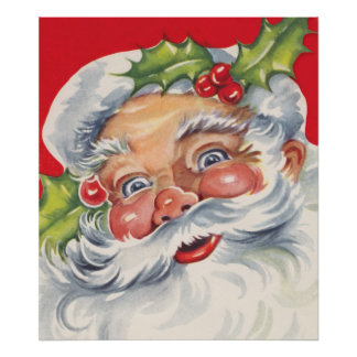 Vintage Christmas, Jolly Santa Claus with Holly Poster