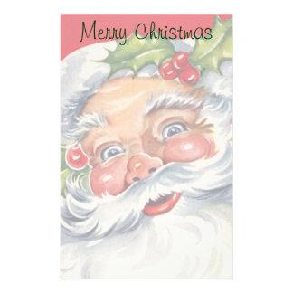 Vintage Christmas Jolly Santa Claus with Holly Custom Stationery