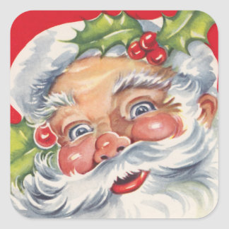 Vintage Christmas, Jolly Santa Claus with Holly Square Sticker