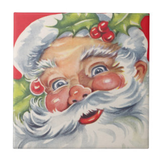 Vintage Christmas Jolly Santa Claus with Holly Tile