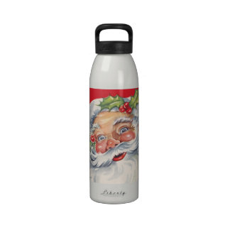 Vintage Christmas, Jolly Santa Claus with Holly Water Bottle