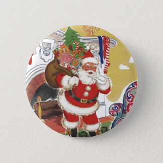Vintage Christmas, Jolly Santa Claus with Presents 6 Cm Round Badge
