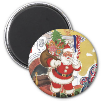 Vintage Christmas, Jolly Santa Claus with Presents 6 Cm Round Magnet