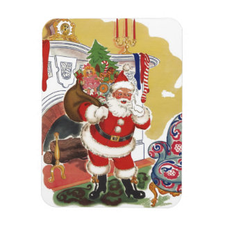 Vintage Christmas, Jolly Santa Claus with Presents Rectangular Photo Magnet