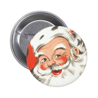 Vintage Christmas, Jolly Santa Claus with Smile 6 Cm Round Badge