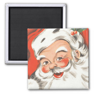 Vintage Christmas, Jolly Santa Claus with Smile Square Magnet