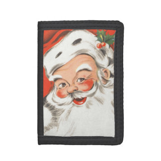 Vintage Christmas, Jolly Santa Claus with Smile Tri-fold Wallets
