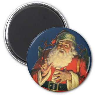 Vintage Christmas, Jolly Santa Claus with Toys 6 Cm Round Magnet