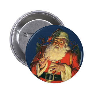 Vintage Christmas, Jolly Santa Claus with Toys Buttons