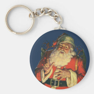 Vintage Christmas, Jolly Santa Claus with Toys Basic Round Button Key Ring